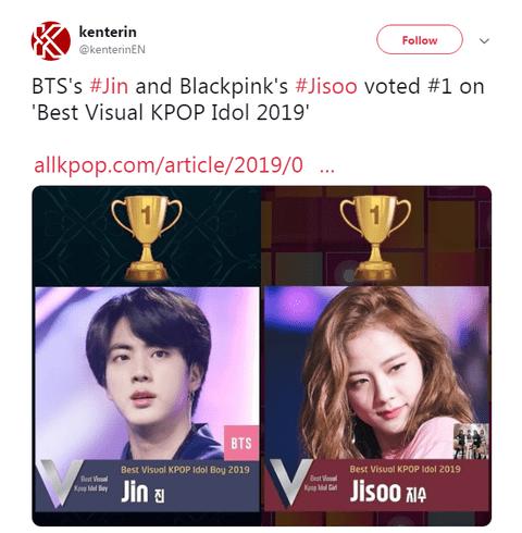 [PANN] BTS Jin ve Black Pink Jisoo oylamayla 2019'un en iyi K-Pop görselleri seçildi