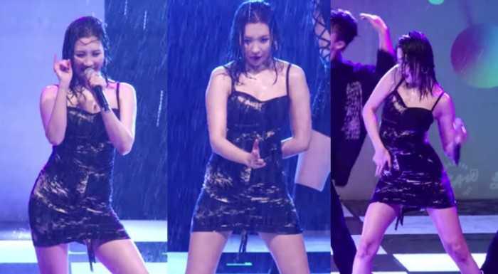 Sunmi sağanak yağmura rağmen performansa devam etti