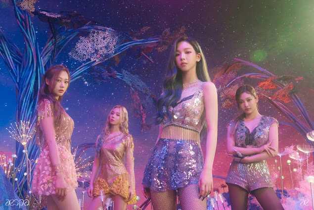 [THEQOO] aespa grup fotoğrafları + SM'deki tüm kadın idoller arasında en kısa süre stajyerlik yapmış üye