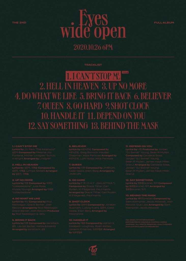[THEQOO] Twice'ın 2. ful albumu 'Eyes Wide Open' şarkı listesi yayınlandı