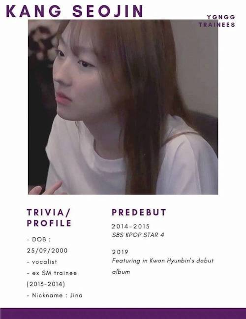 a female trainee is said to be a strong candidate for ygs new girl group member 2
